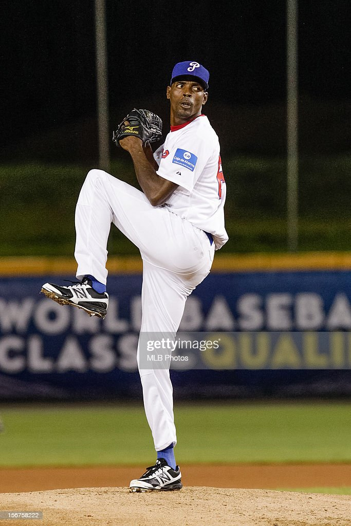 Alberto Acosta #64 of Team Panama pitches during Game 5 of the Qualifying Round of the World Baseball Classic against Team Colombia at Rod Carew National Stadium on Sunday, November 18, 2012 in Panama City, Panama.