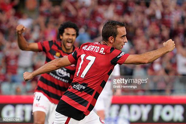 Alberto Aguilar of the Wanderers celebrates scoring a goal during the round 12 ALeague match between the Western Sydney Wanderers and Newcastle Jets...