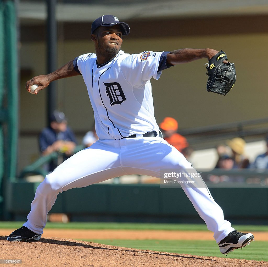 Alberto Alburquerque of the Detroit Tigers pitches against the Baltimore Orioles during the spring training game at Joker Marchant Stadium on March 4...