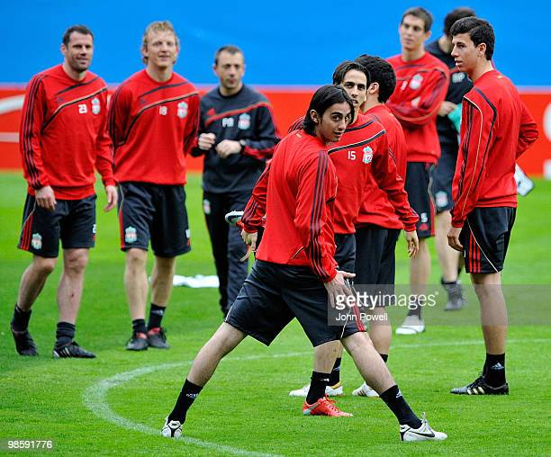 Alberto Aquilani and Yossi Benayoun of Liverpool attend a training session ahead of the UEFA Europa League semifinal first leg match against Atletico...