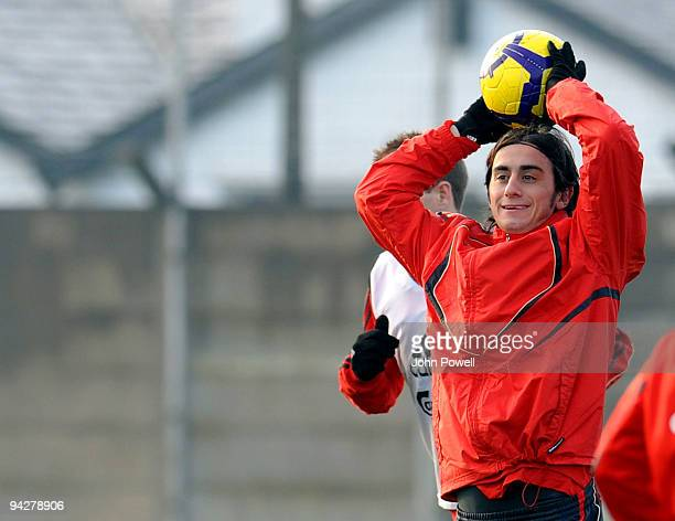 Alberto Aquilani in action during a team training session at Melwood training ground on December 11 2009 in Liverpool England