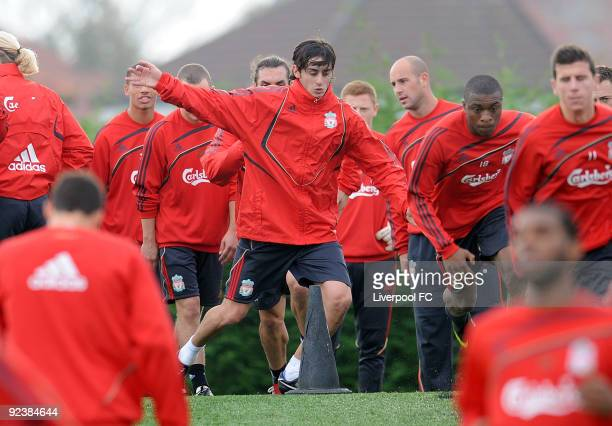 Alberto Aquilani in action during a training session at Melwood Training Ground on October 27 2009 in Liverpool United Kingdom
