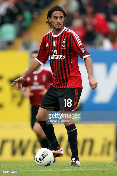 Alberto Aquilani of AC Milan in action during the Serie A match between AC Siena and AC Milan at Artemio Franchi Mps Arena Stadium on April 29 2012...