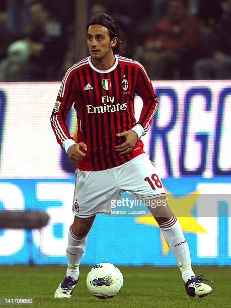 Alberto Aquilani of AC Milan in action during the Serie A match between Parma FC and AC Milan at Stadio Ennio Tardini on March 17 2012 in Parma Italy