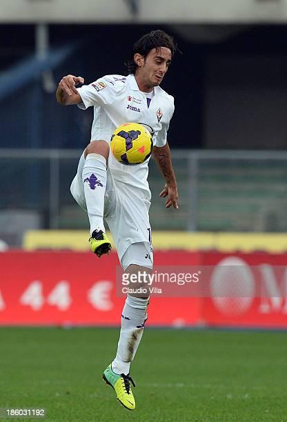 Alberto Aquilani of ACF Fiorentina in action during the Serie A match between AC Chievo Verona and ACF Fiorentina at Stadio Marc'Antonio Bentegodi on...