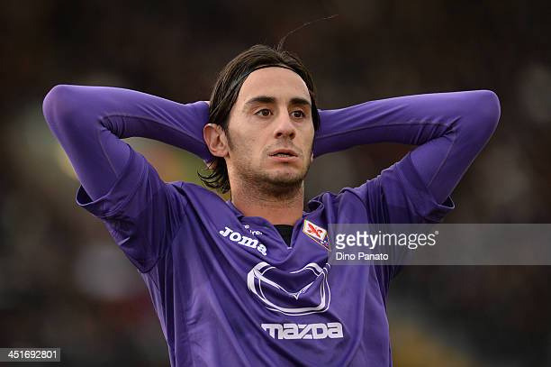 Alberto Aquilani of AFC Fiorentina shows his dejection during the Serie A match between Udinese Calcio and ACF Fiorentina at Stadio Friuli on...