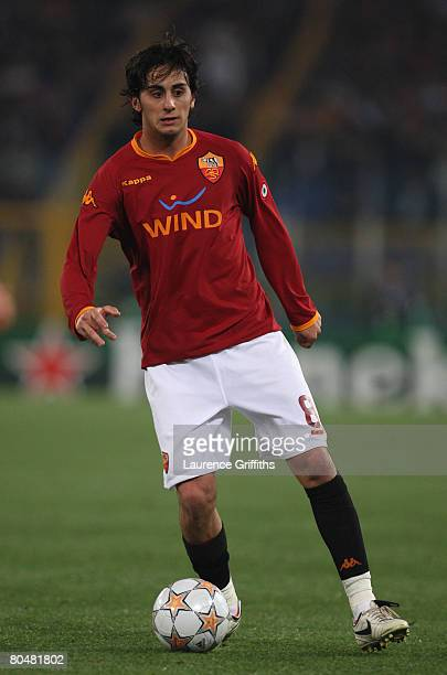 Alberto Aquilani of AS Roma in action during the UEFA Champions League Quarter Final first leg match between AS Roma and Manchester United at the...
