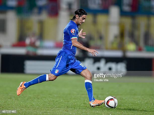 Alberto Aquilani of Italy in action during the EURO 2016 Group H Qualifier match between Malta and Italy at Ta' Qali Stadium on October 13 2014 in...