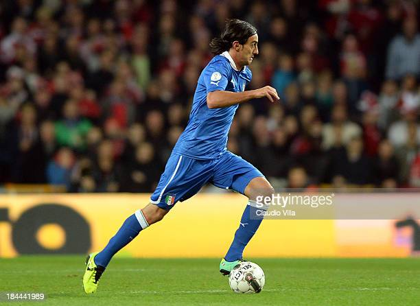 Alberto Aquilani of Italy in action during the FIFA 2014 world cup qualifier between Denmark and Italy on October 11 2013 in Copenhagen Denmark