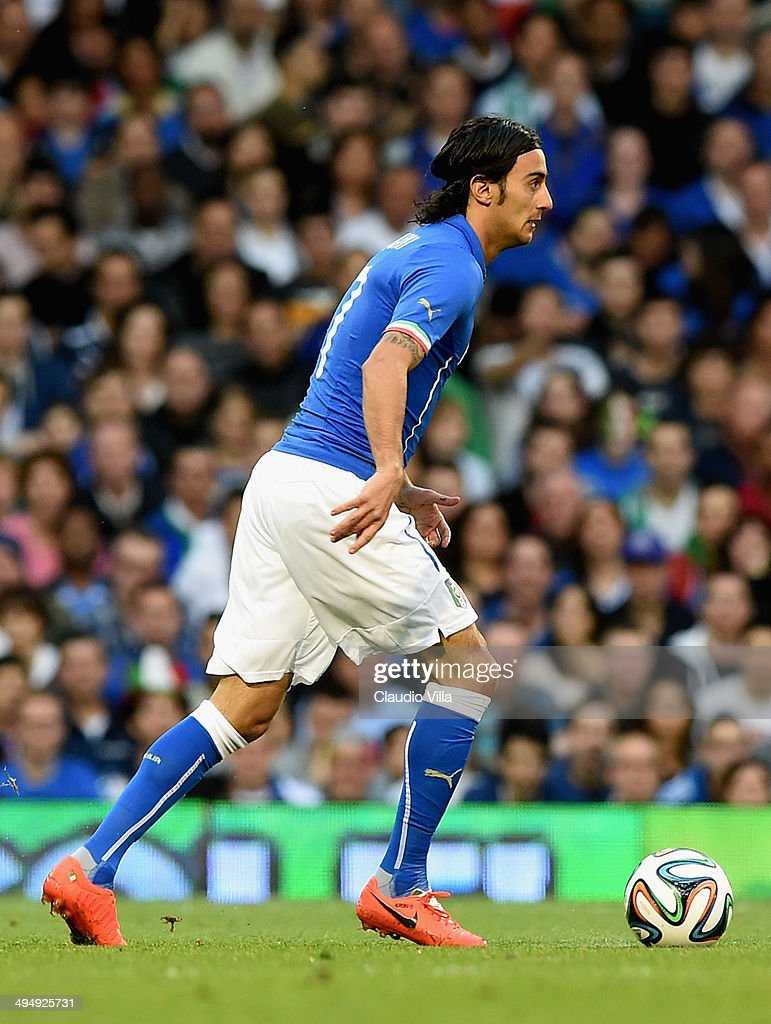 Alberto Aquilani of Italy in action during the International Friendly match between Italy and Ireland at Craven Cottage on May 30, 2014 in London, England.