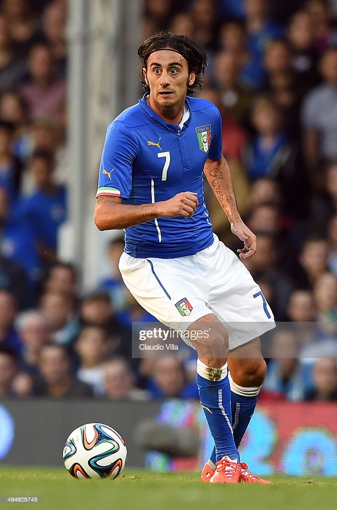 <a gi-track='captionPersonalityLinkClicked' href=/galleries/search?phrase=Alberto+Aquilani&family=editorial&specificpeople=790932 ng-click='$event.stopPropagation()'>Alberto Aquilani</a> of Italy in action during the International Friendly match between Italy and Ireland at Craven Cottage on May 30, 2014 in London, England.