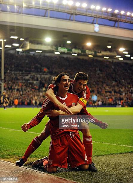 Alberto Aquilani of Liverpool celebrates after scoring the opening goal during the UEFA Europa League SemiFinal Second Leg match between Liverpool FC...