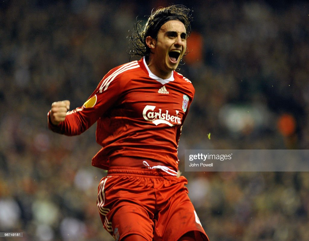 Alberto Aquilani of Liverpool celebrates after scoring the opening goal during the UEFA Europa League Semi-Finals Second Leg match between Liverpool FC and Atletico Madrid at Anfield on April 29, 2010 in Liverpool, England.