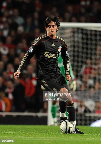 Alberto Aquilani of Liverpool in action during the match between LiverpooL FC and Arsenal during the Carling Cup Fourth round at Emirates Stadium on...