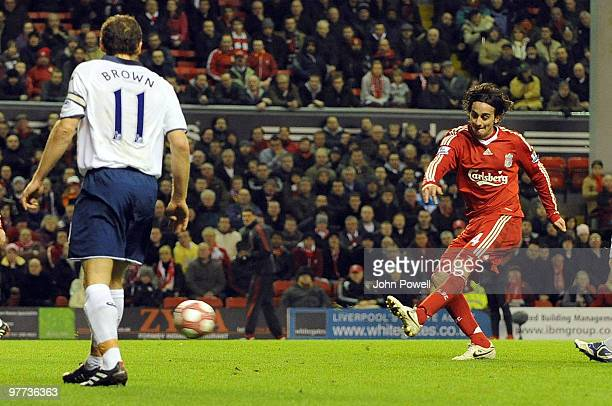 Alberto Aquilani of Liverpool scores his first goal for Liverpool 30 during the Barclays Premier League match between Liverpool and Portsmouth at...