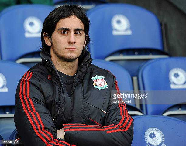 Alberto Aquilani sits on the bench during the Barclays Premier League match between Blackburn and Liverpool at Ewood Park on December 5 2009 in...