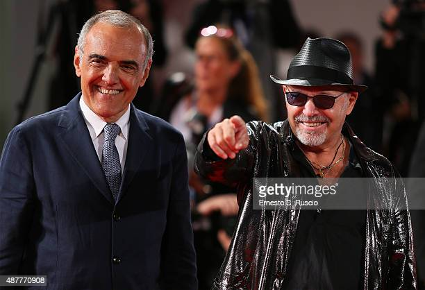 Alberto Barbera and Vasco Rossi attend a premiere for 'Il Decalogo Di Vasco' during the 72nd Venice Film Festival at Sala Grande on September 11 2015...