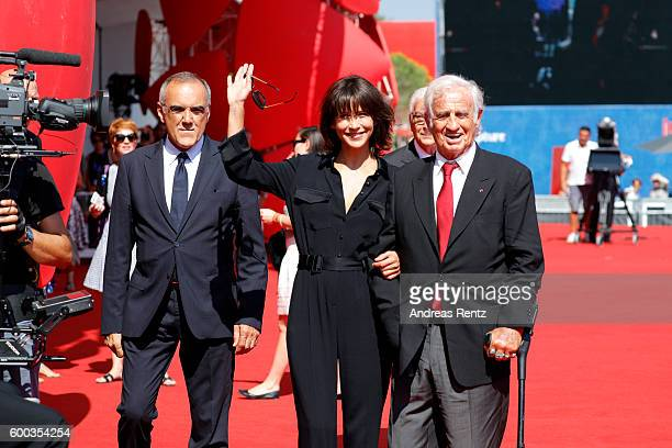 Alberto Barbera Sophie Marceau and Jean Paul Belmondo attend the Golden Lion For Jean Paul Belmondo followed by the 'Le Voleur' Premiere during the...
