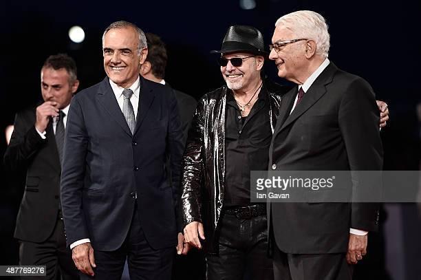 Alberto Barbera Vasco Rossi and Paolo Baratta attend a premiere for 'Il Decalogo Di Vasco' during the 72nd Venice Film Festival at Sala Grande on...