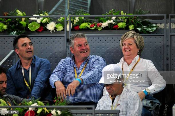 Alberto Berasategui and Feliciano Lopez's parents Feliciano Lopez and Belen DiazGuerra attend a match during day one of the Mutua Madrid Open tennis...