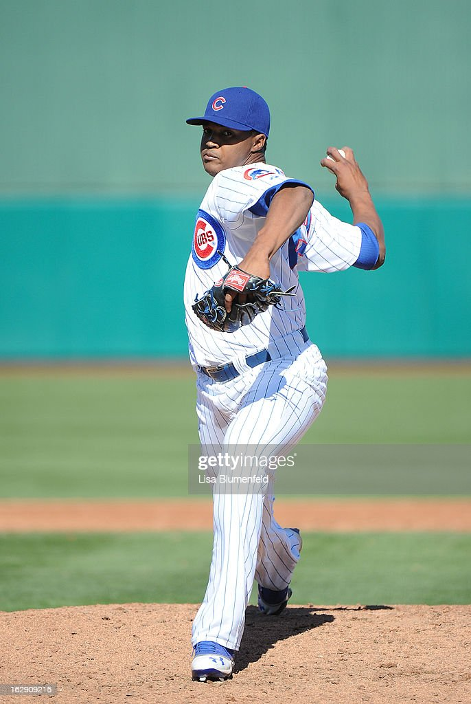 Alberto Cabrera #55 of the Chicago Cubs pitches against the Los Angeles Dodgers on February 27, 2013 at HoHoKam Park in Mesa, Arizona.