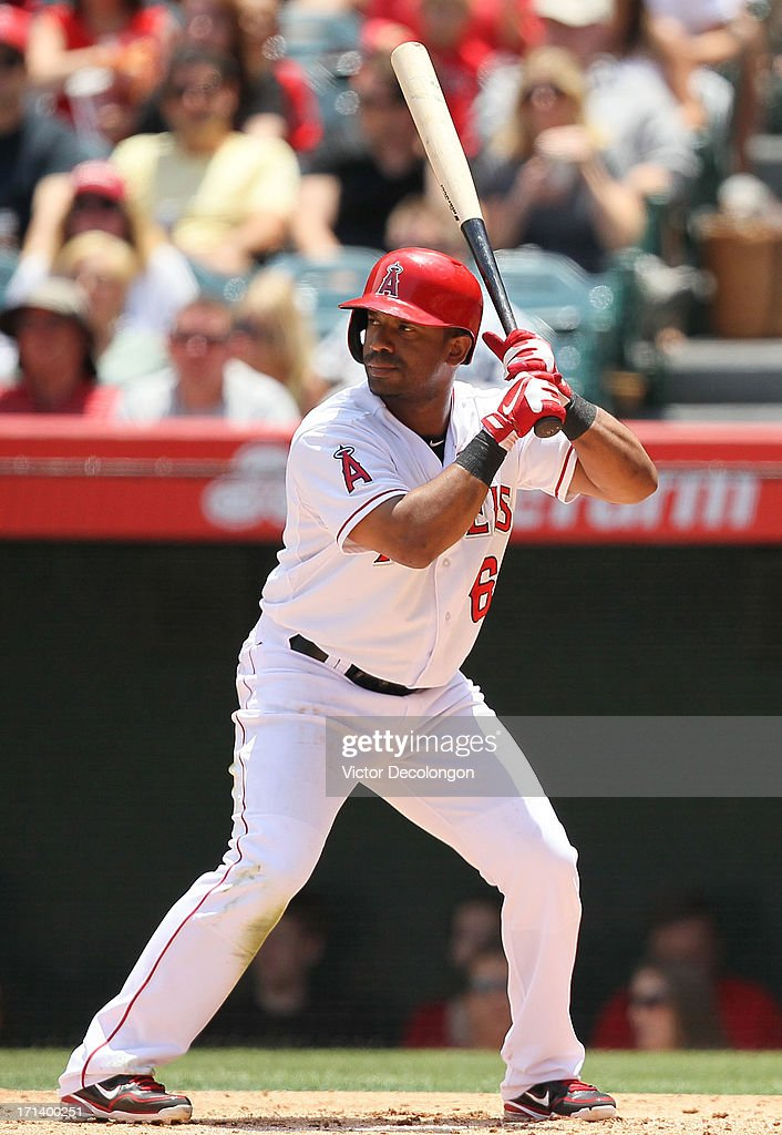 Alberto Callaspo #6 of the Los Angeles Angels of Anaheim bats in the second inning during the MLB game against the Pittsburgh Pirates at Angel Stadium of Anaheim on June 23, 2013 in Anaheim, California. The Pirates defeated the Angels 10-9 in ten innings.