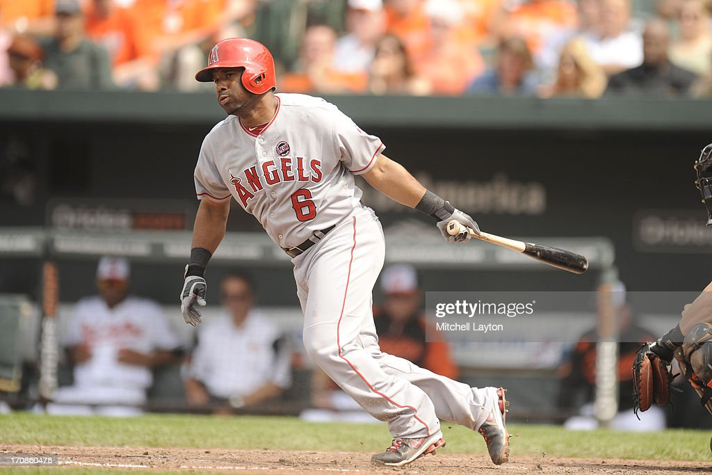 <a gi-track='captionPersonalityLinkClicked' href=/galleries/search?phrase=Alberto+Callaspo&family=editorial&specificpeople=835933 ng-click='$event.stopPropagation()'>Alberto Callaspo</a> #6 of the Los Angeles Angels takes a swing during a baseball game against the Baltimore Orioles on June 12, 2013 at Oriole Park at Camden Yards in Baltimore, Maryland. The Angles won 9-5.