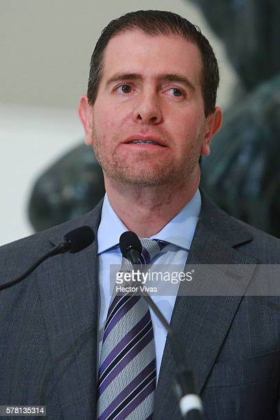Alberto Castillo Director of CONADE looks on during Mexico Olympic Team Farewell Ceremony at Soumaya Museum on July 20 2016 in Mexico City Mexico