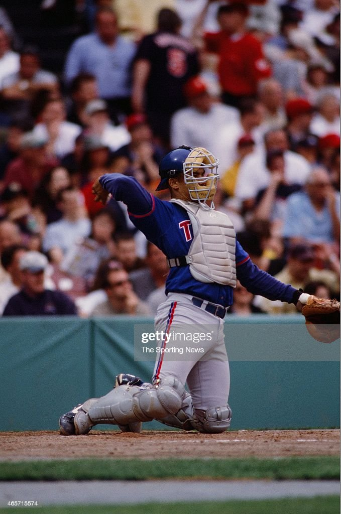 Alberto Castillo of the Toronto Blue Jays catches against the Boston Red Sox at Fenway Park on June 18, 2000 in Boston, Massachusetts.