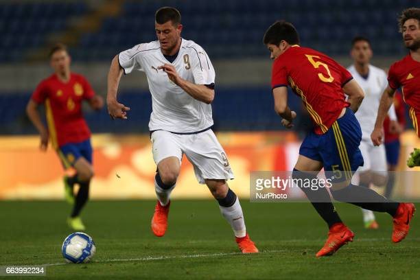 Alberto Cerri of Italy U21 compete for the ball with Jorge Merè of Spain U21 during the International Friendly Under 21 Italia v Spagna at Olimpico...