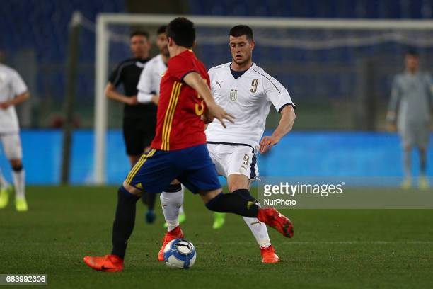 Alberto Cerri of Italy U21 in action during the International Friendly Under 21 Italia v Spagna at Olimpico Stadium on March 27 2017 in Rome Italy