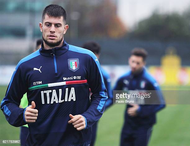 Alberto Cerri of Italy U21 in action during the Italy U21 training session on November 8 2016 in Rome Italy