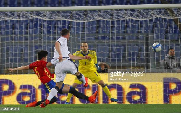 Alberto Cerri of Italy U21 kicks the ball during the international friendly match between Italy U21 and Spain U21 at Olimpico Stadium on March 27...