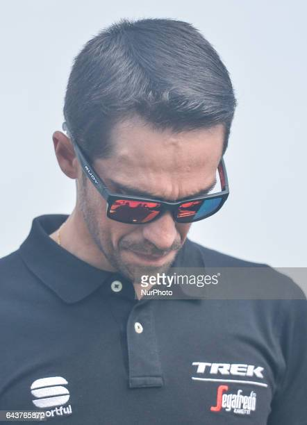 Alberto Contador a Spanish professional cyclist one of six riders to have won all three Grand Tours of road cycling arrives for the Abu Dhabi Tour...
