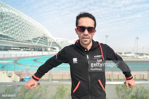 Alberto Contador from TrekSegafredo at the Abu Dhabi Tour 2017 Top Riders photocall outside the Yas Marina Circuit F1 and the Yas Viceroy Abu Dhabi...