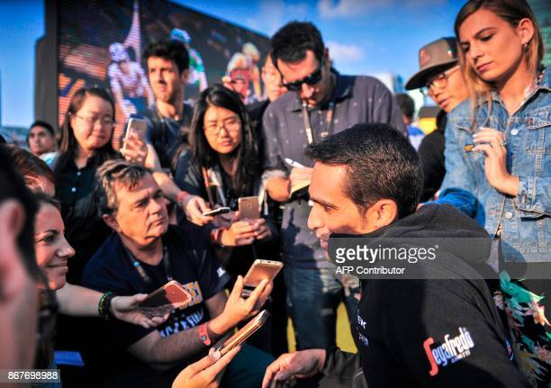 Alberto Contador of France is interviewed at an event held to promote the Tour de France China Criterium in Shanghai on October 29 2017 Tour de...