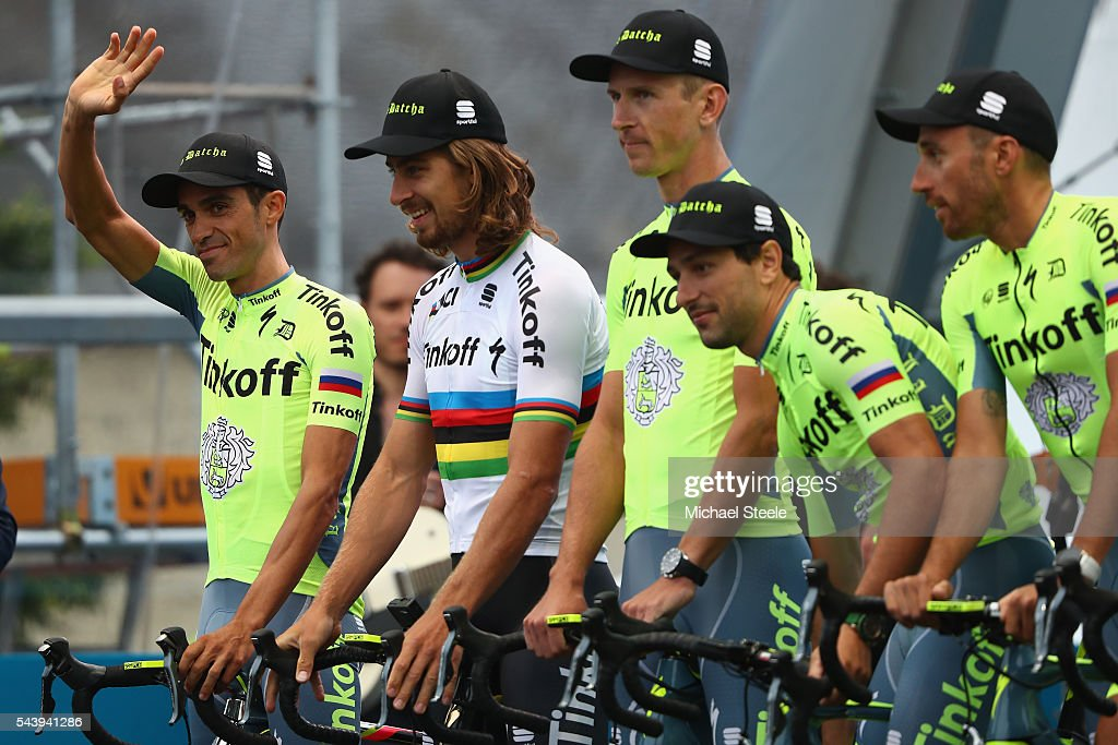Alberto Contador (L) of Spain alongside Peter Sagan of Slovakia and Team Tinkoff during the team presentations on June 30, 2016 in Sainte-Mere-Eglise, France.