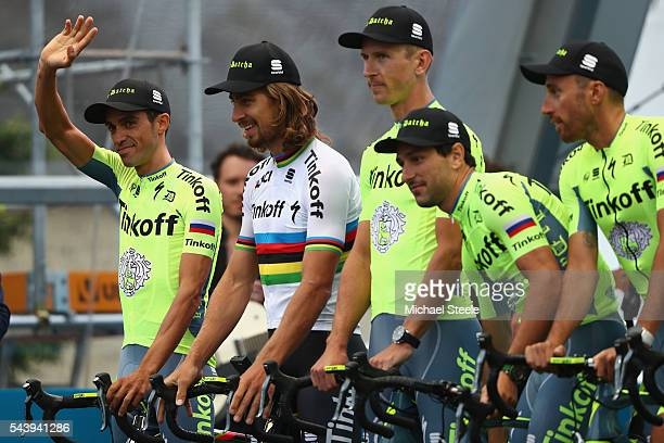 Alberto Contador of Spain alongside Peter Sagan of Slovakia and Team Tinkoff during the team presentations on June 30 2016 in SainteMereEglise France