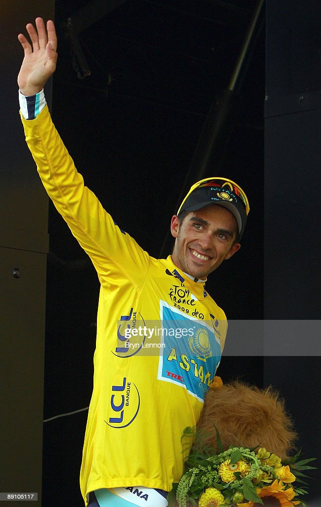 Alberto Contador of Spain and Astana celebrates taking a stage victory and the yellow jersey on stage 15 of the 2009 Tour de France from Pontarlier to Verbier on July 19, 2009 in Verbier, Switzerland.