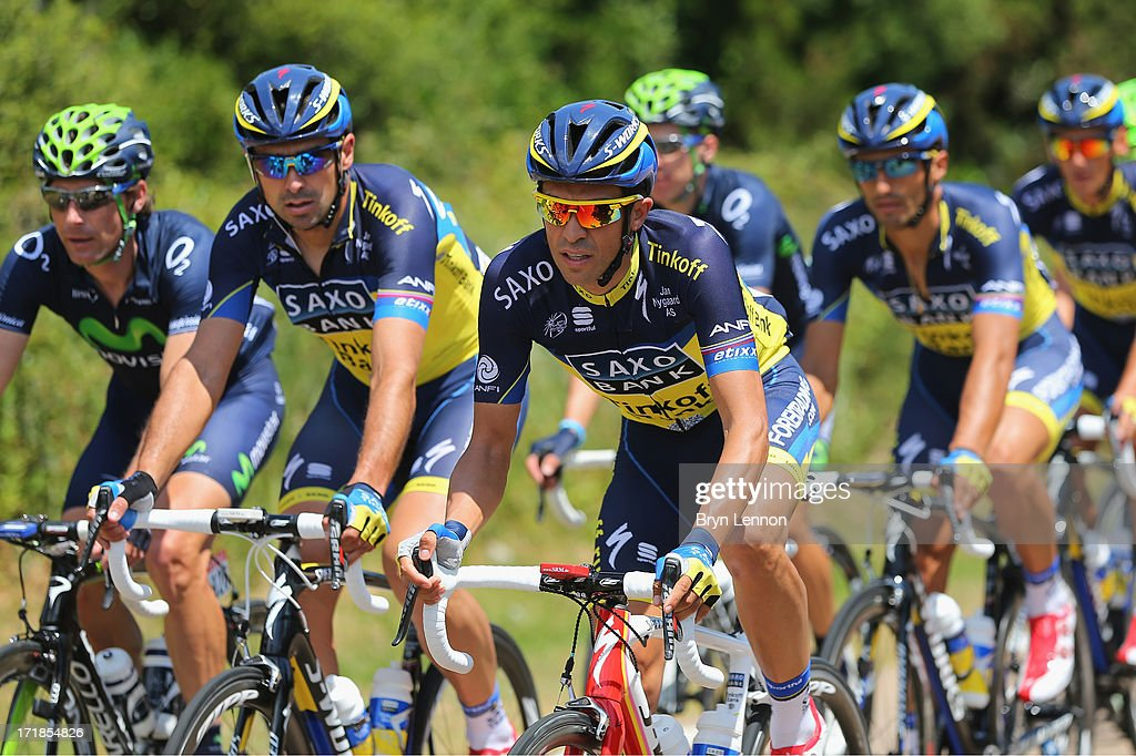 <a gi-track='captionPersonalityLinkClicked' href=/galleries/search?phrase=Alberto+Contador&family=editorial&specificpeople=562697 ng-click='$event.stopPropagation()'>Alberto Contador</a> of Spain and Saxo-Tinkoff rides with his team mates during stage one of the 2013 Tour de France, a 213KM road stage from Porto-Vecchio to Bastia, on June 29, 2013 near Solaro, France.