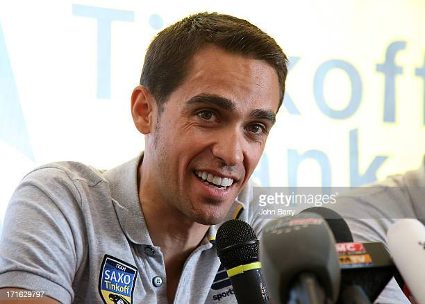 Alberto Contador of Spain and Team Saxo Tinkoff answers questions during a press conference at his hotel prior to the start of the Tour de France...