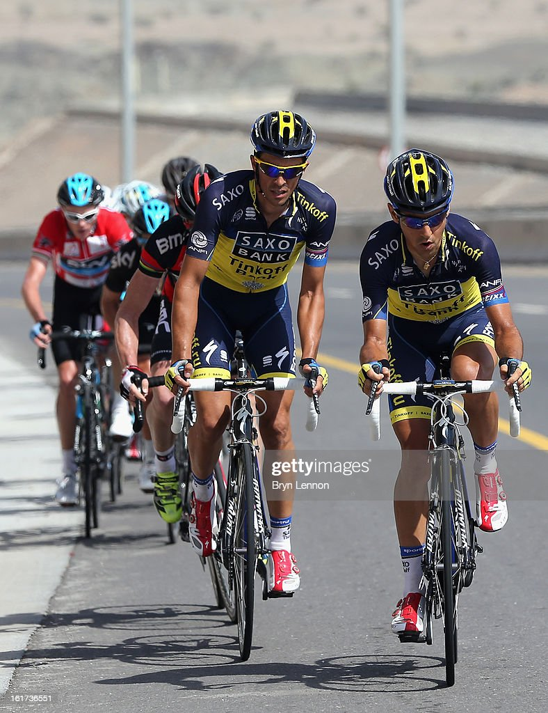 Alberto Contador of Spain and Team Saxo-Tinkoff and team mate Jesus Hernandez lead up the Bousher climb during stage five of the Tour of Oman from Al Alam Palace to the Ministry of Housing in Boshar on February 15, 2013 in Boshar, Oman.