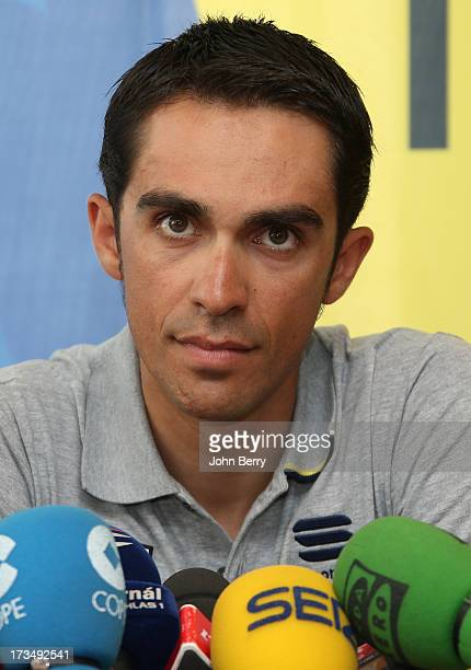 Alberto Contador of Spain and Team SaxoTinkoff answers questions from journalists during the second rest day of the 2013 Tour de France on July 15...