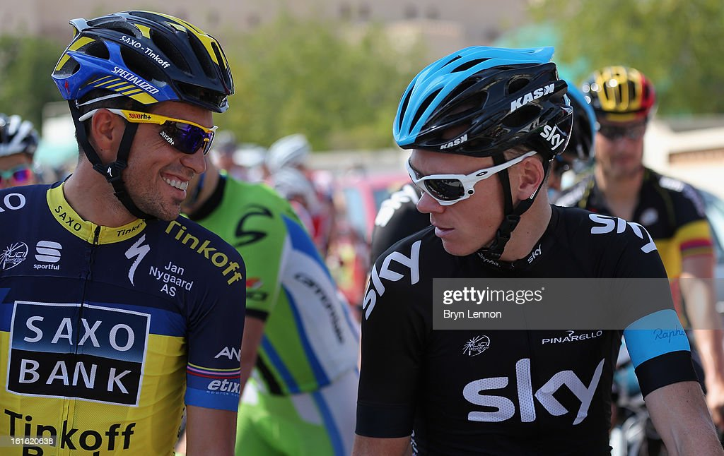 Alberto Contador of Spain and Team Saxo-Tinkoff chats to Chris Froome of Great Britain and SKY Procycling during stage three of the 2013 Tour of Oman from Nakhal Fort to Wadi Dayqah Dam on February 13, 2013 in Nakhal Fort, Oman.