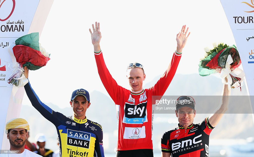 Alberto Contador (2nd) of Spain and Team Saxo-Tinkoff, Chris Froome (1st) of Great Britain and SKY Procycling and Cadel Evans (3rd) of Australia and trhe BMC Racing team stand on the podium after stage six of the 2013 Tour of Oman from Hawit Nagam Park to the Matrah Corniche on February 16, 2013 in Matrah, Oman.