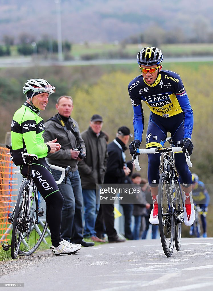 Alberto Contador of Spain and Team Saxo-Tinkoff climbs the Cote de La Redoute ahead of his team during training for the 99th Liege-Bastogne-Liege cycle road race on April 19, 2013 in Liege, Belgium. (Photo by Bryn Lennon/Getty Images).