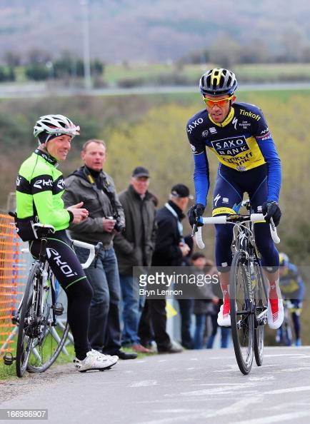 Alberto Contador of Spain and Team SaxoTinkoff climbs the Cote de La Redoute ahead of his team during training for the 99th LiegeBastogneLiege cycle...