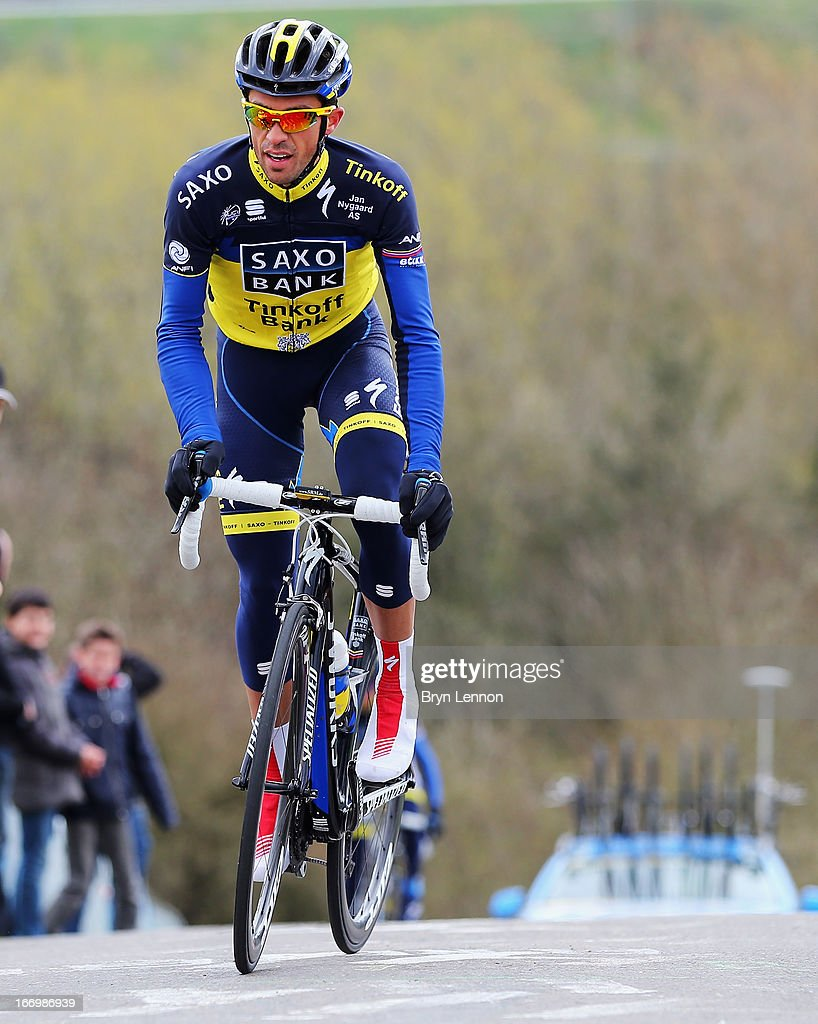 <a gi-track='captionPersonalityLinkClicked' href=/galleries/search?phrase=Alberto+Contador&family=editorial&specificpeople=562697 ng-click='$event.stopPropagation()'>Alberto Contador</a> of Spain and Team Saxo-Tinkoff climbs the Cote de La Redoute ahead of his team during training for the 99th Liege-Bastogne-Liege cycle road race on April 19, 2013 in Liege, Belgium. (Photo by Bryn Lennon/Getty Images).