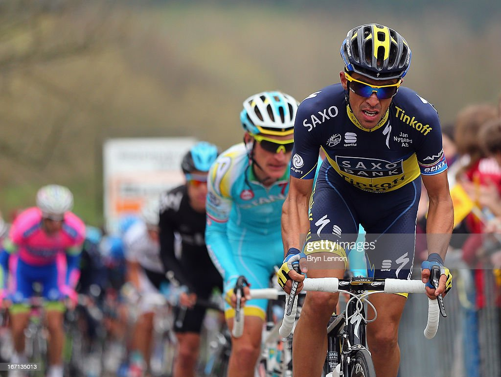 Alberto Contador of Spain and Team Saxo-Tinkoff climbs the Cote de La Redoute during the 99th Liege-Bastogne-Liege road race on April 21, 2013 in Liege, Belgium. (Photo by Bryn Lennon/Getty Images).