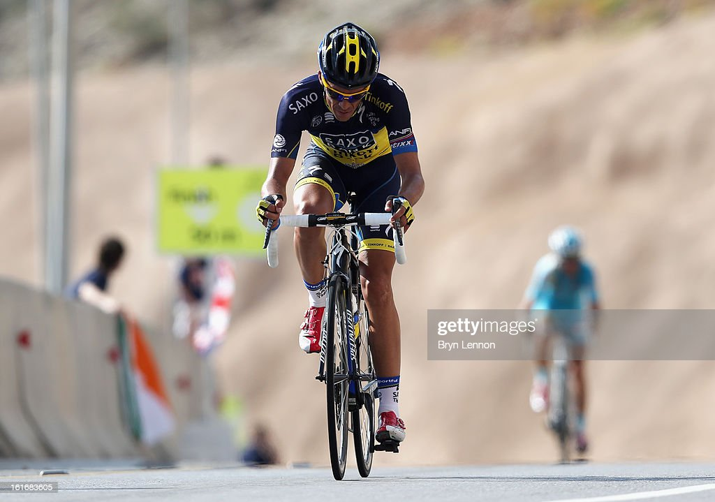 Alberto Contador of Spain and Team Saxo-Tinkoff climbs to finishline of Green Mountain after stage four of the 2013 Tour of Oman from Al Saltiyah in Samail to Jabal Al Akhdhar (Green Mountain) on February 14, 2013 in Jabal Al Akhdhar, Oman.